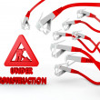 Under construction symbol attacked by a cyber network - Stock Photo