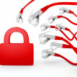 Stock Photo: Secure symbol attacked by cyber network