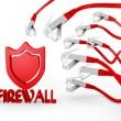 Stock Photo: Firewall symbol attacked by cyber network