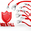 Firewall symbol attacked by cyber network — Stock Photo #23211422