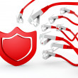 Protection symbol attacked by cyber network — Stock Photo #23211576