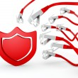 Protection symbol attacked by a cyber network - Stock Photo