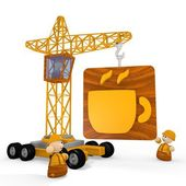 3d render of a cute coffee symbol with a crane — Stock Photo
