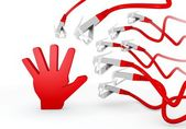 3d render of a threatened hand icon attacked by a cyber network — Stock Photo