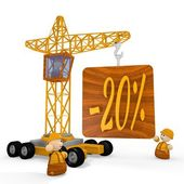 3d graphic of a tiny discount symbol with a crane — Stock Photo