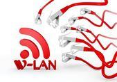 W-lan symbool aangevallen door een netwerk van cyber — Stockfoto