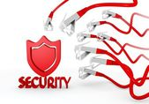 Security symbol attacked by a cyber network — Stock Photo