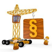 3d render of a judicial law icon with a crane — Stock Photo