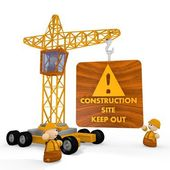 3d render of a tiny construction site symbol with a crane — Stock Photo