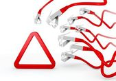 Símbolo de triângulo, atacado por uma rede de cyber — Foto Stock