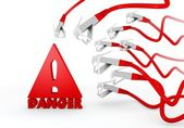Danger icon attacked by a cyber network — Stock Photo
