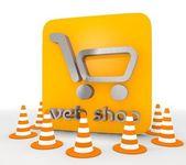 3d render of a metallic web shop icon — Stock Photo