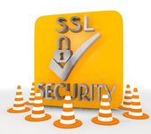 3d render of a metallic SSL icon — Stock Photo