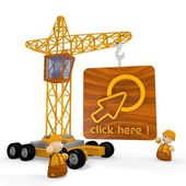 3d graphic of a childish click here symbol with a crane — Stock Photo