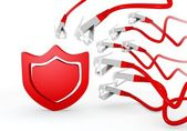 Protection symbol attacked by a cyber network — Stock Photo