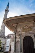 Gate och minareten framför topkapi palace i istanbul, turkiet — Stockfoto