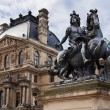 Louis XIV statue at Louvre museum, courtyard, Paris, France — Stock Photo
