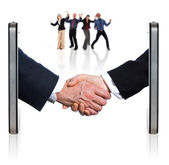 Shaking Hands over Smart Phones — Stockfoto