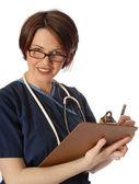 Doctor con almohadilla — Foto de Stock