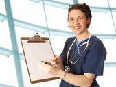 νοσοκόμα με μαξιλάρι — Φωτογραφία Αρχείου