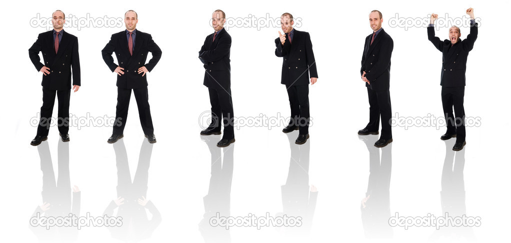 Business man on a white background isolated poses — Stock Photo #12363774