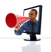 Monitor Megaphone — Stock Photo