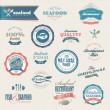 Seafood labels and elements — Imagen vectorial