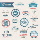 Seafood labels and elements — Stok Vektör