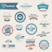 Deniz ürünleri etiket ve elemanları — Stok Vektör