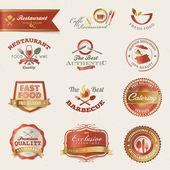 éléments et étiquettes de restaurant — Vecteur