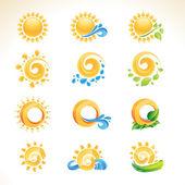 Ensemble d'icônes soleil — Vecteur