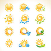 Set of sun icons — Stock Vector