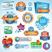 Resor etiketter och klistermärken — Stockvektor
