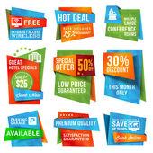 σύνολο προσφορά ετικέτες και διαφημιστικά πλαίσια — Διανυσματικό Αρχείο