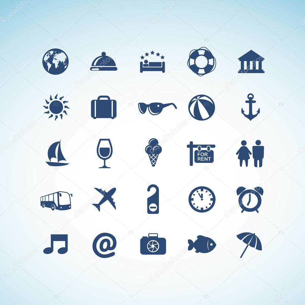 Set of vector icons for travel and tourism  — Stock Vector #12130428