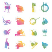 Set of colorful food and drink icons for restaurants — Stockvektor