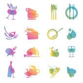 Ensemble de cuisine colorée et icônes de boisson pour les restaurants — Vecteur