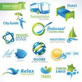 Ensemble d'icônes de voyage — Vecteur