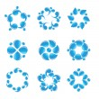 Blue vector water icons — Stock Vector