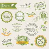 Bio-lebensmittel-etiketten und elemente — Stockvektor