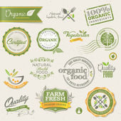 Organic food labels and elements — Stockvector
