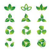 Green leaves icon set — Vetor de Stock