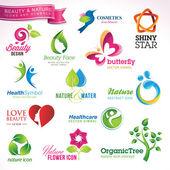 Set van pictogrammen en symbolen voor schoonheids- en natuur — Stockvector