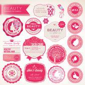 Set van cosmetica etiketten en badges — Stockvector