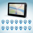 Stock Vector: GPS navigator and set of GPS icons
