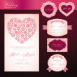 Wedding invitation card and elements — Cтоковый вектор
