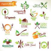 Ensemble d'icônes et d'éléments pour les aliments biologiques — Vecteur