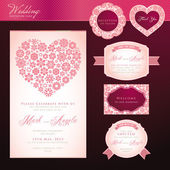 Wedding invitation card and elements — Vecteur