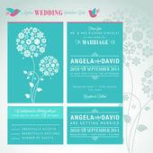 Set de cartes invitation mariage moderne — Vecteur