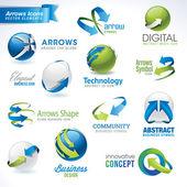 Set van pijlen pictogrammen en elementen — Stockvector